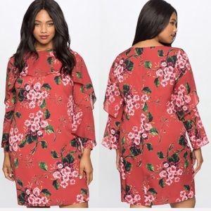 Eloquii Red Floral Print Ruffle Sleeves Dress